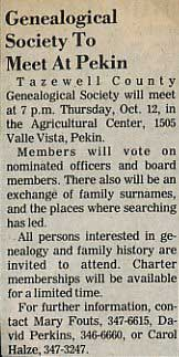 Newspaper Announcement of First Society Meeting