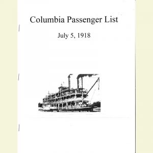 Cover for Columbia Steamboat Disaster Passenger List