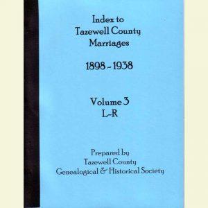 Cover - Marriages 1898-1938 - Volume 3 - Surnames L-R