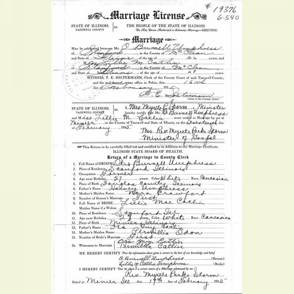 Image of Marriage License Copy