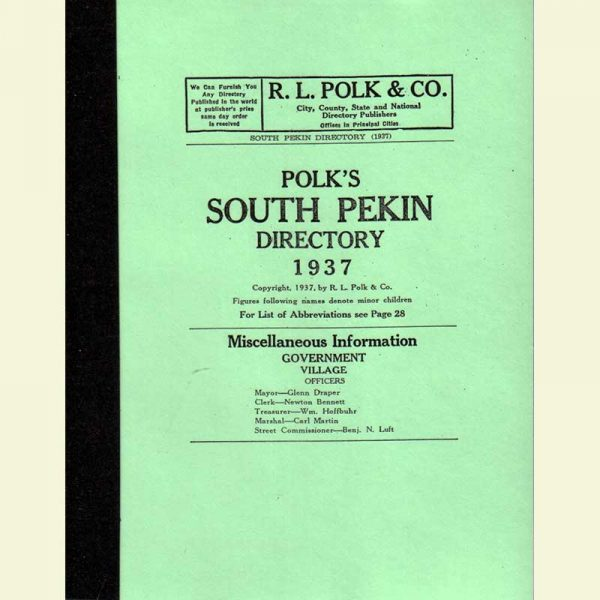 Front Cover - South Pekin Directory 1937