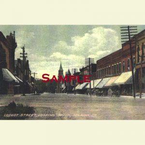 Delavan Locust South Looking South Postcard 1