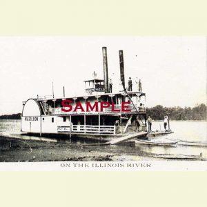Illinois River Steamboat Mazileon Postcard