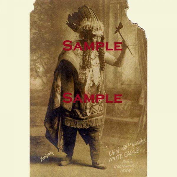 Pekin Centennial Shoshone Chief White Eagle Postcard