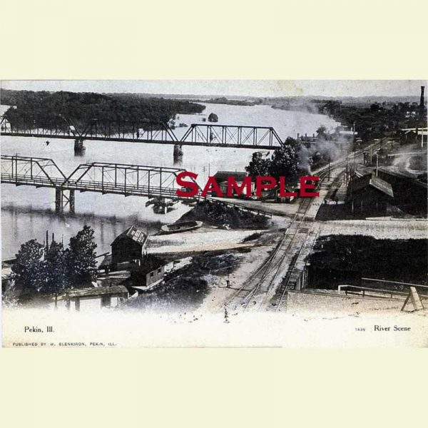 Pekin Illinois River Scene Postcard