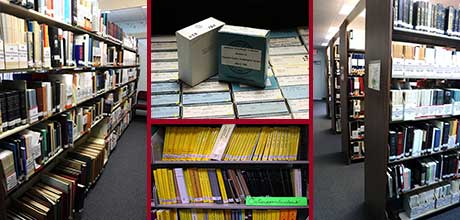 Collage of Library Collection Images - bookcases, microfiche, OSBs