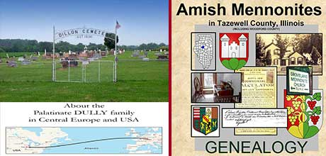 Collage of Research Guides - Dully, Amish Mennoinites, Dillon Cemetery
