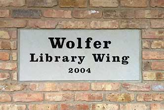 Image of the Wolfer Library Wing Plaque