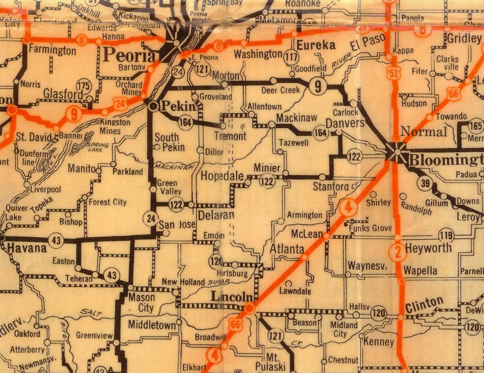 Tazewell County from 1929 Illinois Highway Map