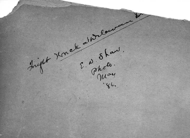 Writing on back of a photo of 1886 Delavan Train Wreck