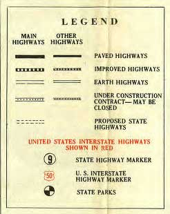 Legend for 1929 Highway Map