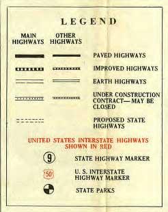 Legend for 1929 Highway Map