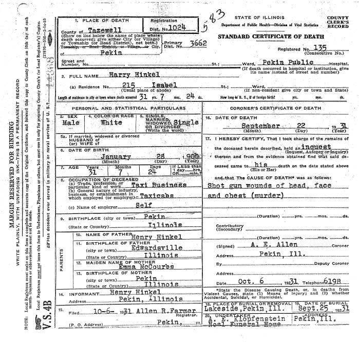 Harry Hinkel Death Certificate