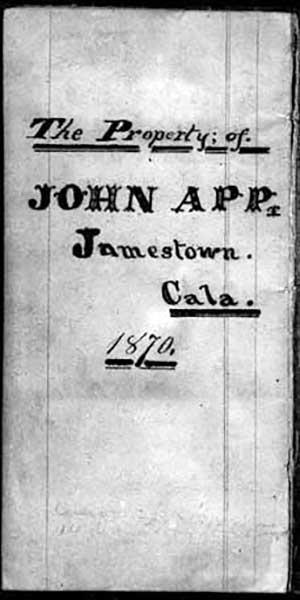 Cover of John Mathias App's 1870 Diary