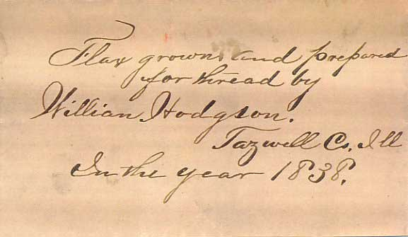 Note stored with William Hodgson Flax
