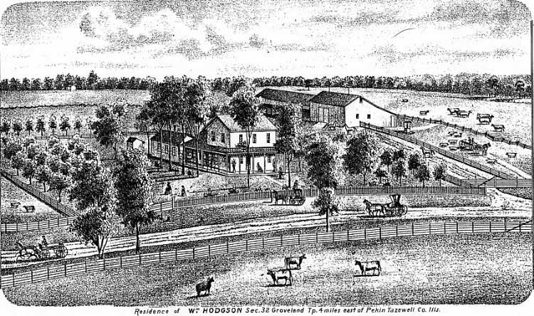 Drawing of William Hodgson Farm from 1864